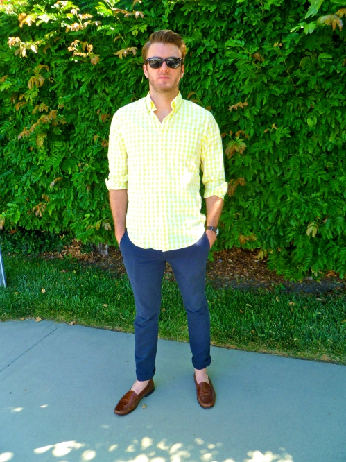 J.Crew Shirt   J.Crew Stanton 484 Chinos   Faux Crocodile (leather) Loafers via Goodwill